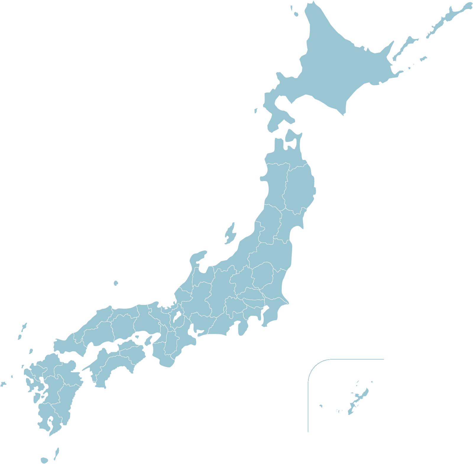 日本地図のイラスト(水色)