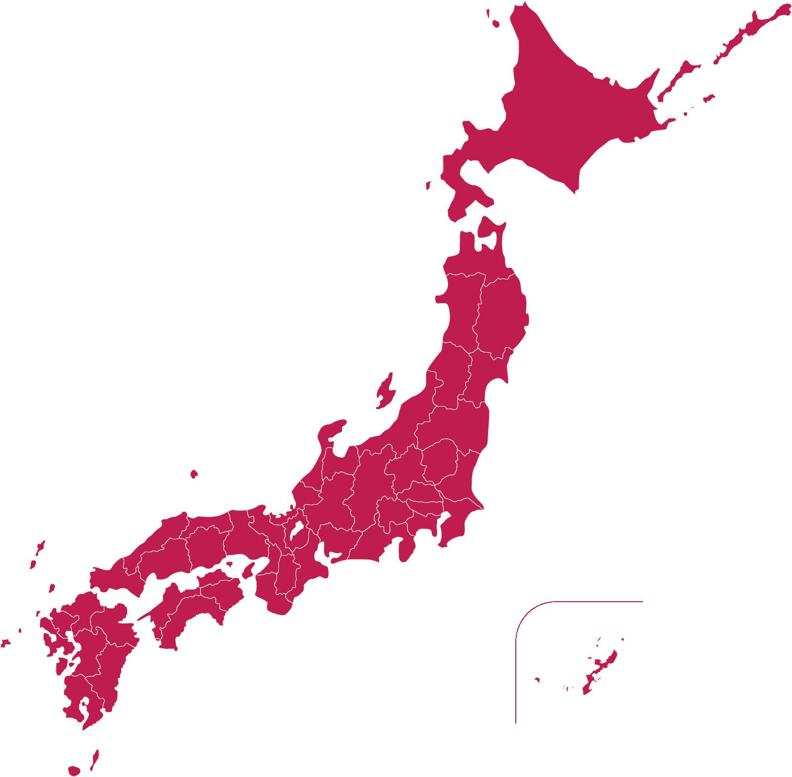 日本地図のイラスト(赤紫色)