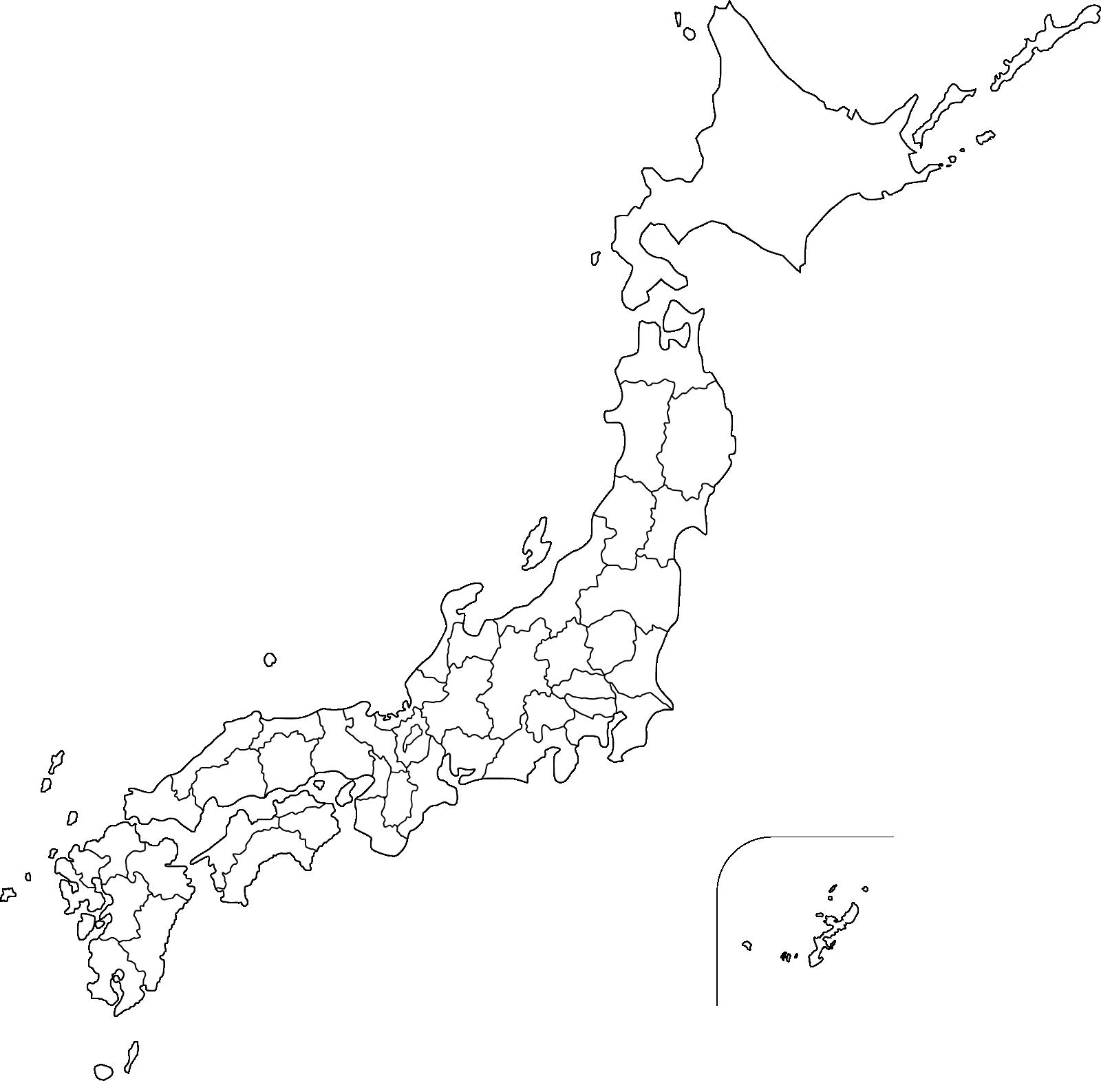 日本地図のイラスト(シンプル)