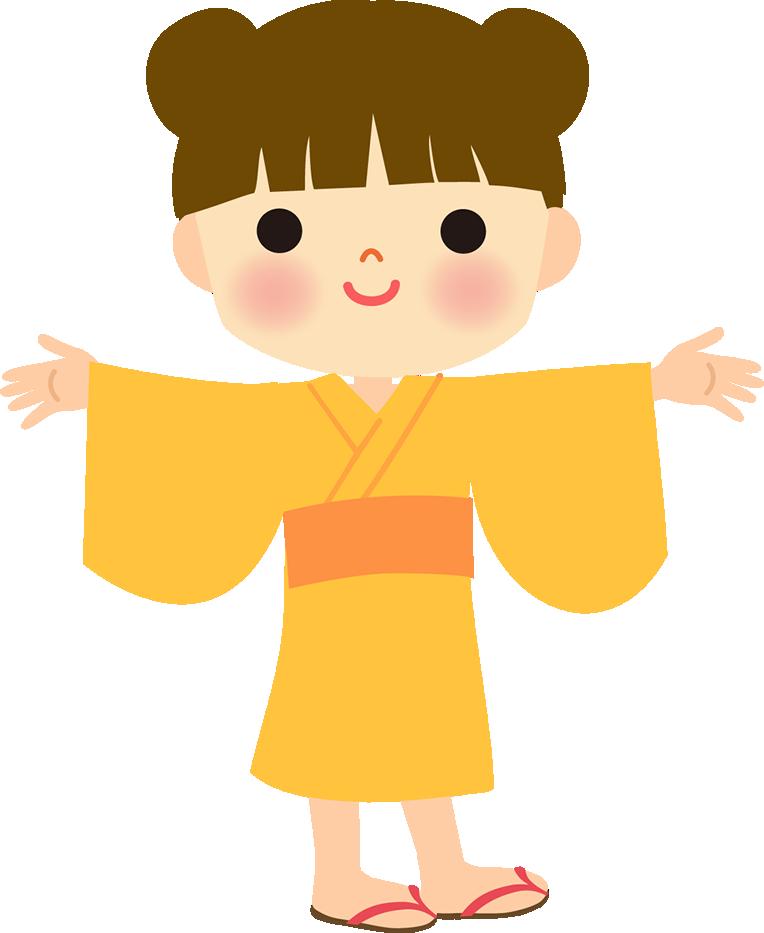 浴衣姿の女の子のイラスト