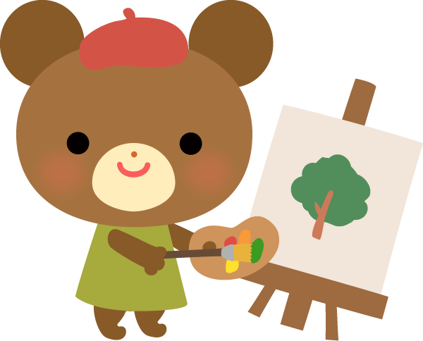 【動物】画家さんの恰好をしているクマさんのイラスト