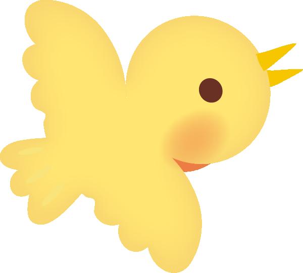 【動物】かわいい鳥のイラスト(黄色)