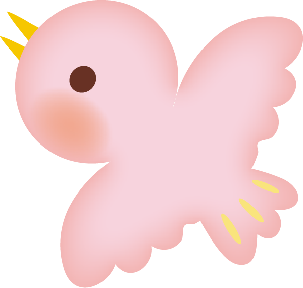 【動物】かわいい鳥のイラスト(ピンク)