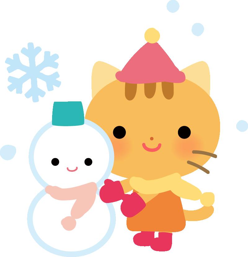 【動物】雪だるまを作るかわいいネコのイラスト