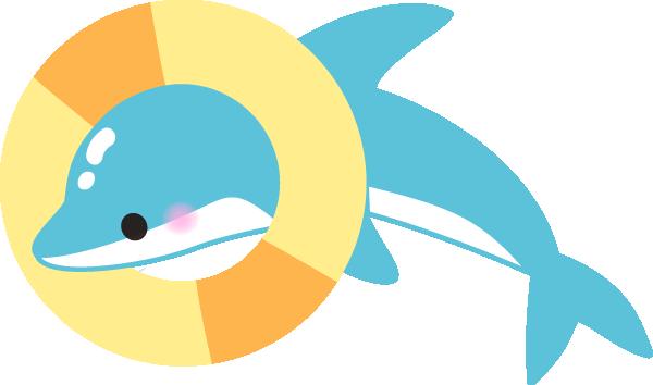 浮輪をくぐるイルカのイラスト