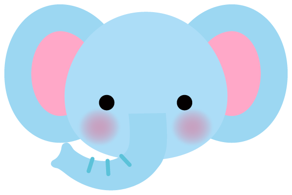 【動物】かわいい象さんのイラスト