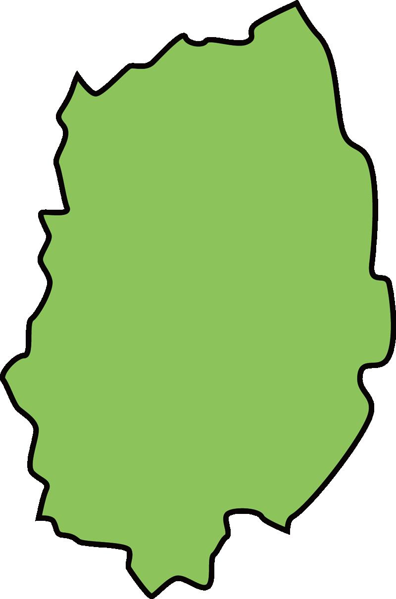 岩手県の地図イラスト