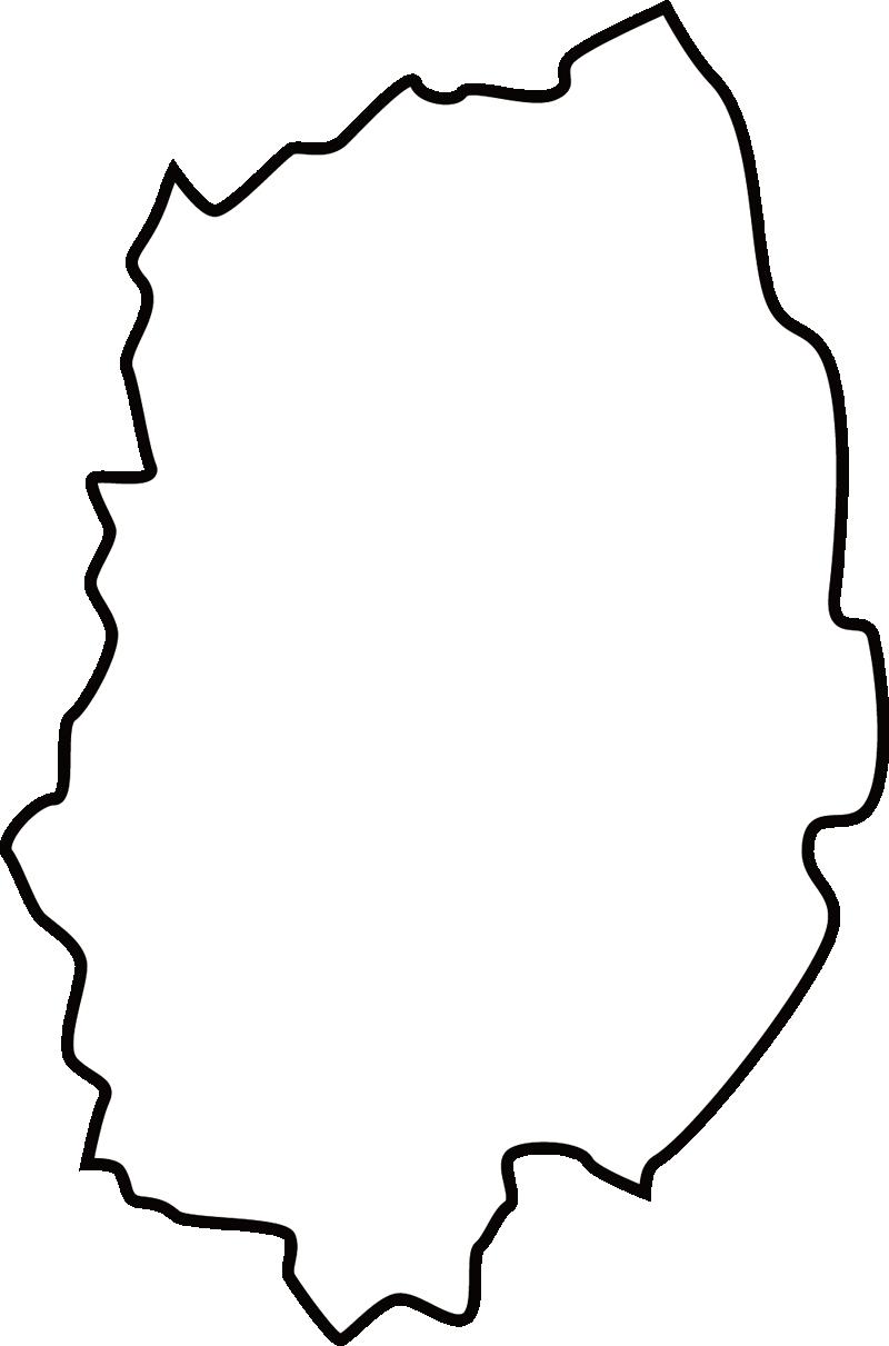 岩手県の地図イラスト(白黒)