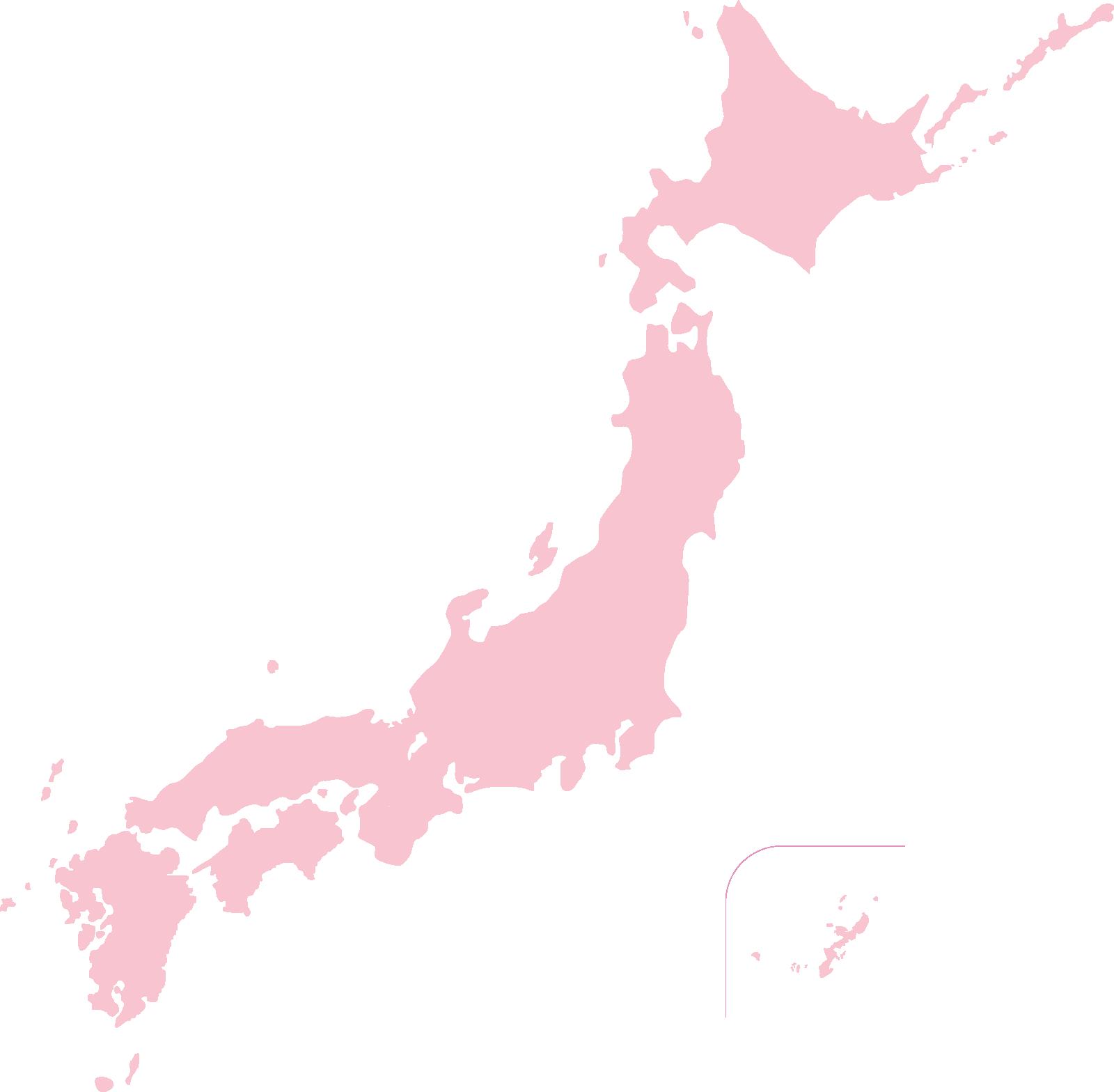 かわいい色の日本地図イラスト(淡いピンク)