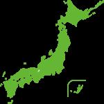 ベーシックカラーの日本地図のイラスト(緑)