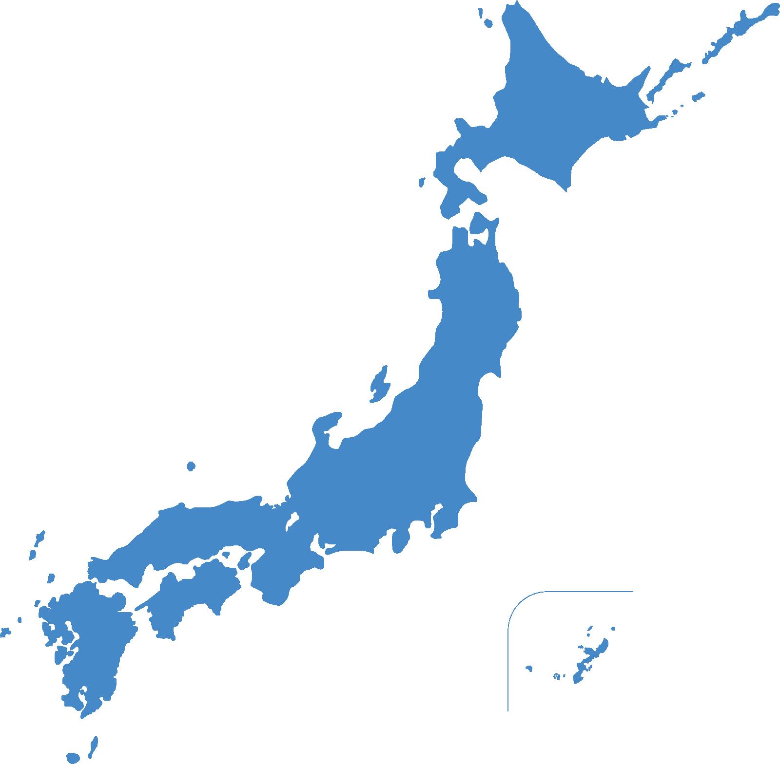 水色の日本地図のイラスト(県境無し)