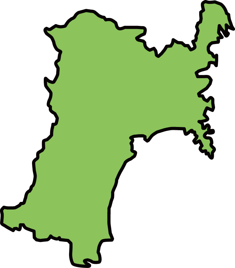 宮城県の地図イラスト(カラー)