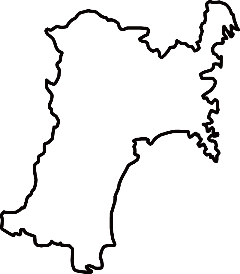 宮城県の地図イラスト(白黒)