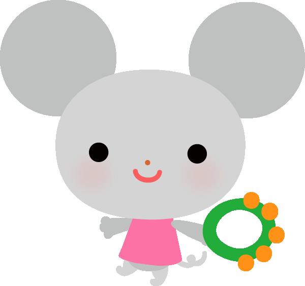【動物】タンバリンをするかわいいねずみのイラスト