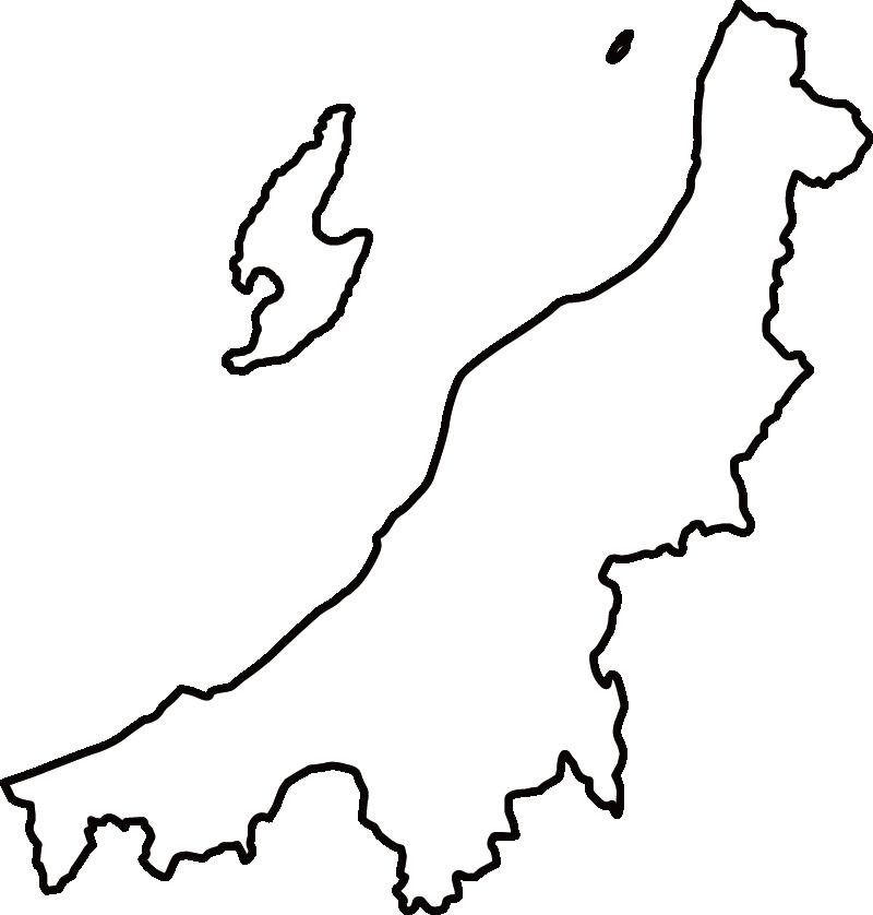 新潟県の地図イラスト(白黒)