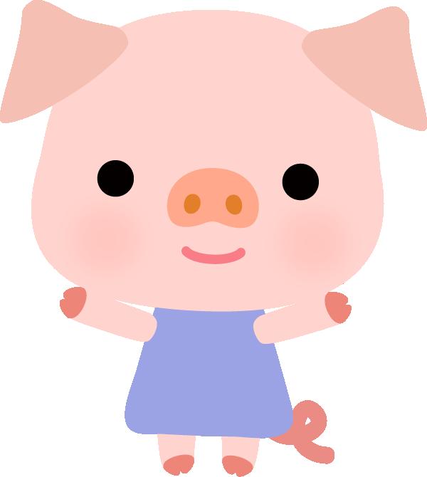 【動物】かわいいブタさんのイラスト