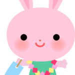 【七夕】七夕飾りを楽しむウサギさんのイラスト