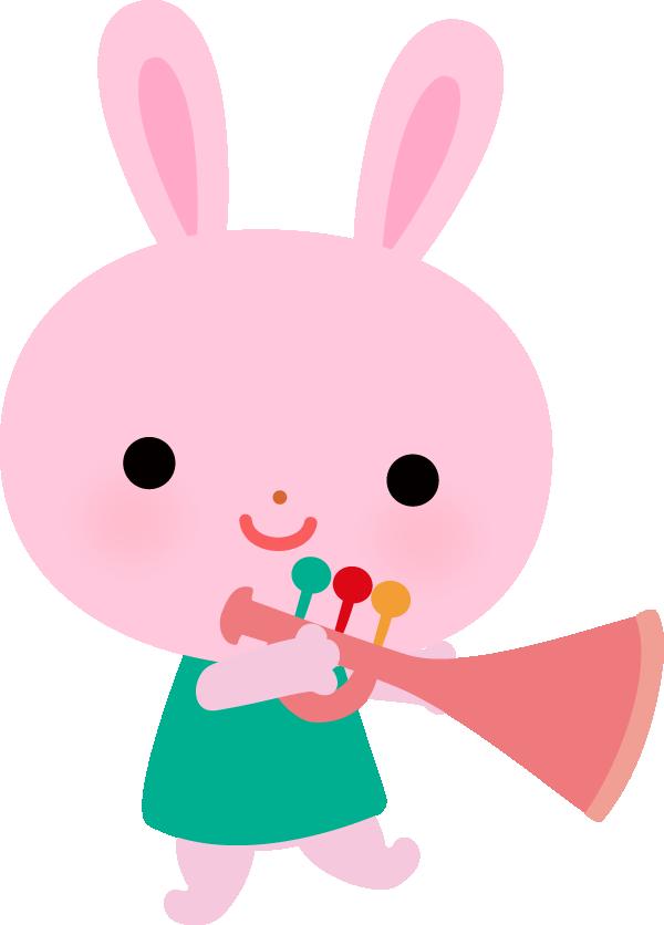 【動物】トランペットを吹くかわいいウサギのイラスト