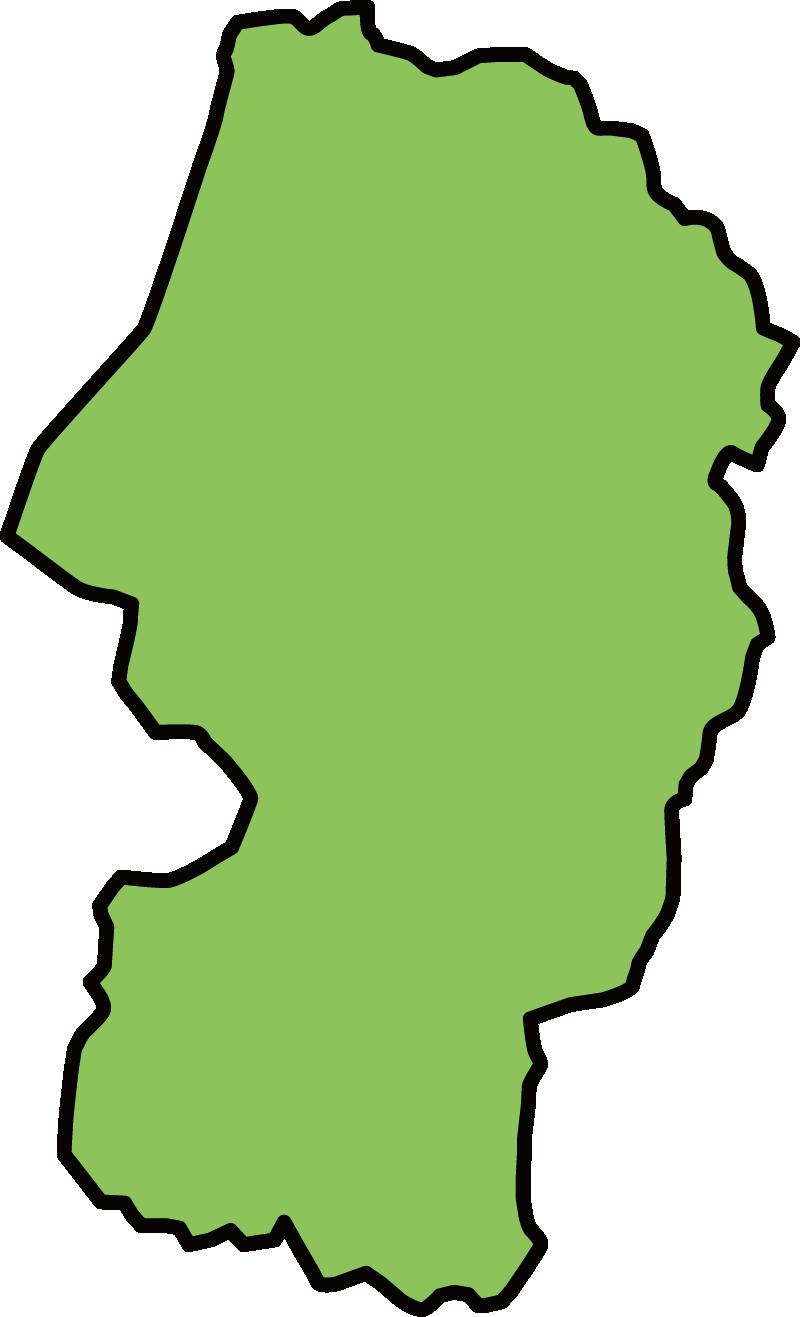山形県の地図イラスト(カラー)