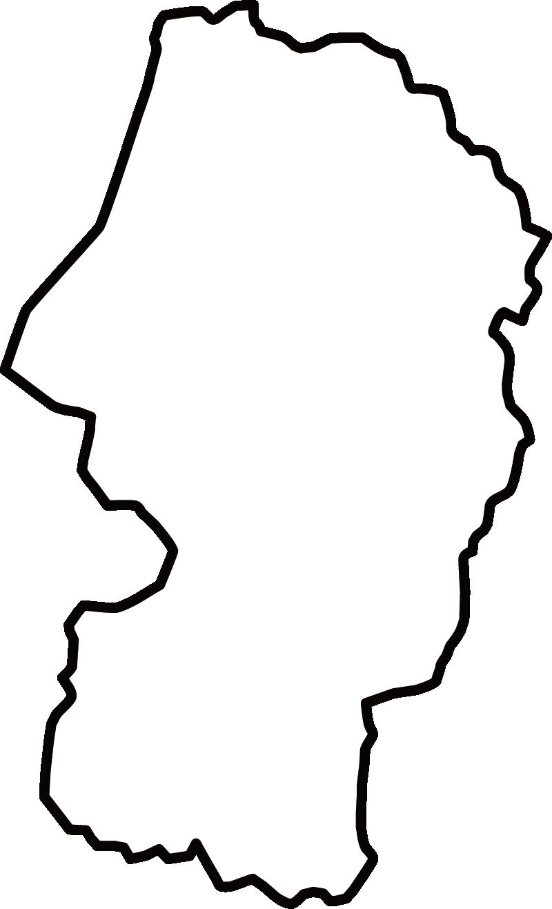 山形県の地図イラスト(白黒)