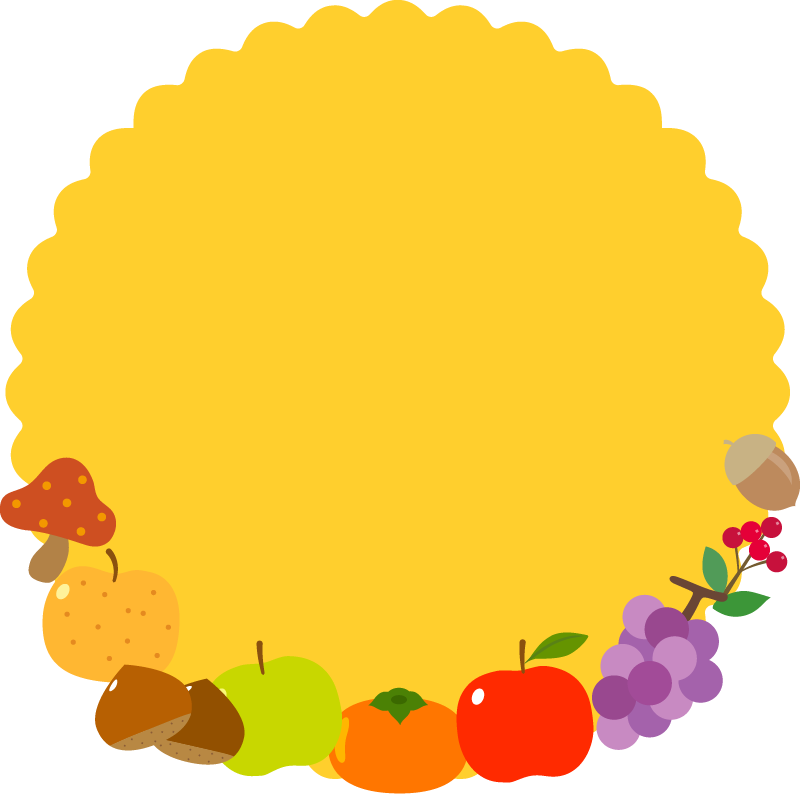秋の味覚をあしらった囲み枠・フレームイラスト