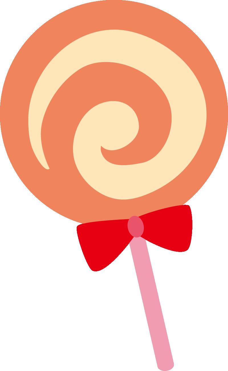 棒つきキャンディーイラスト(オレンジ)