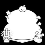 お正月の枠・フレームイラスト(白黒)