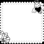 (白黒印刷用)バレンタインデーの囲み枠・フレームイラスト