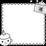 (白黒印刷用)節分・豆まきの囲み枠・フレームイラスト