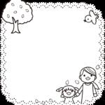 4月 お花見の囲み枠・フレームイラスト(白黒)