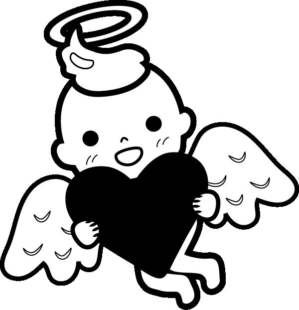 天使のイラスト(白黒)