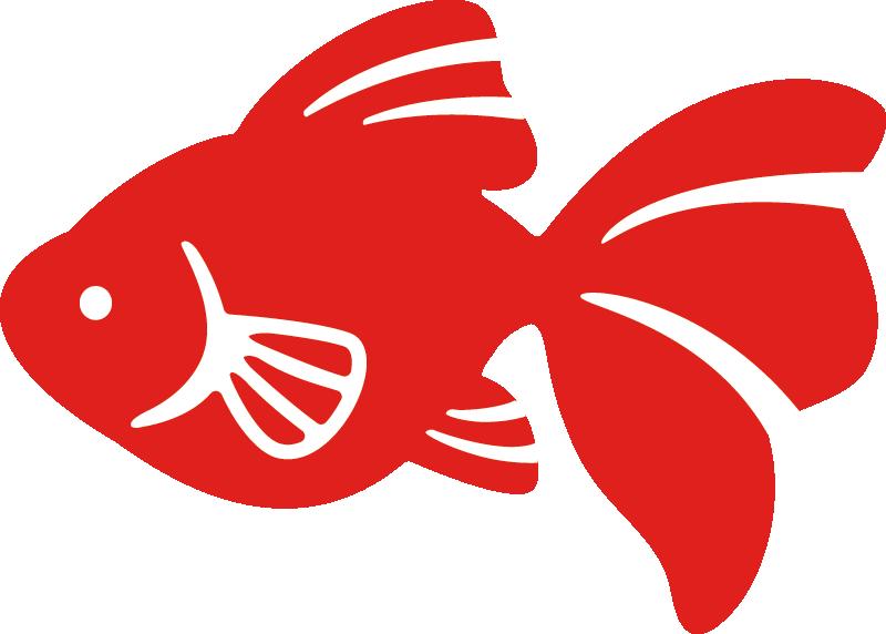 和柄風の金魚イラスト