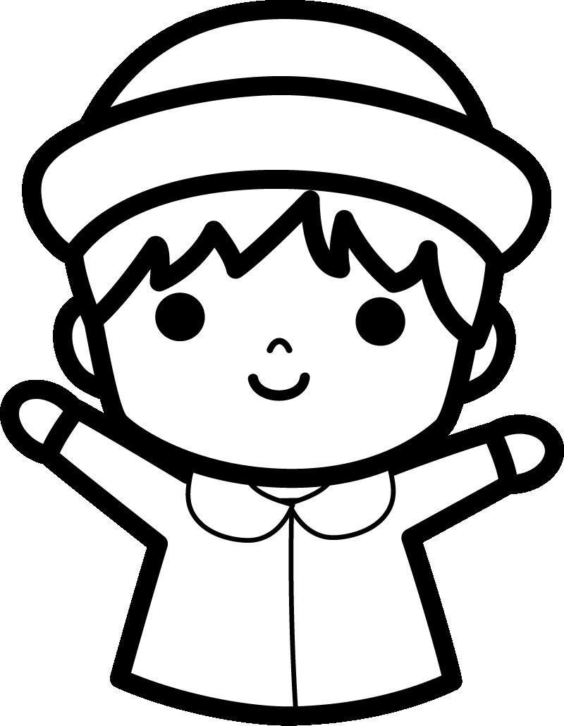 白黒 園児のイラスト(男の子)