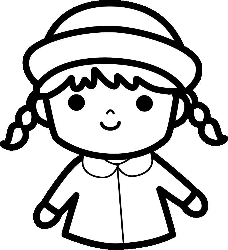 白黒 園児のイラスト(女の子)
