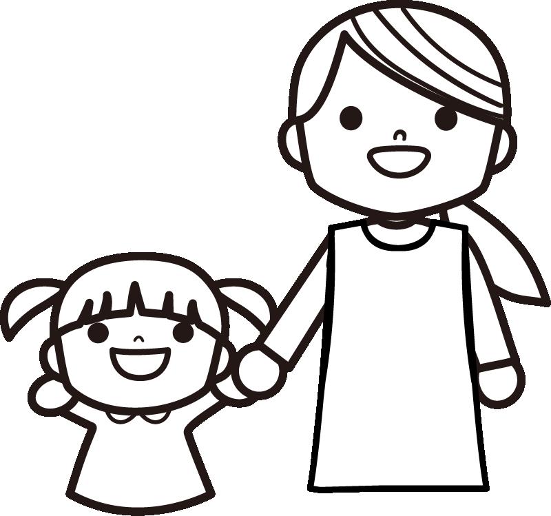 白黒 保育士さんと子供のイラスト