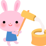 餅つきをするウサギのイラスト