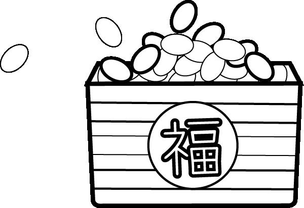 節分の豆のイラスト(白黒)