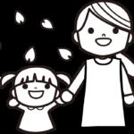 白黒 桜を見上げる保育士さんと子供のイラスト