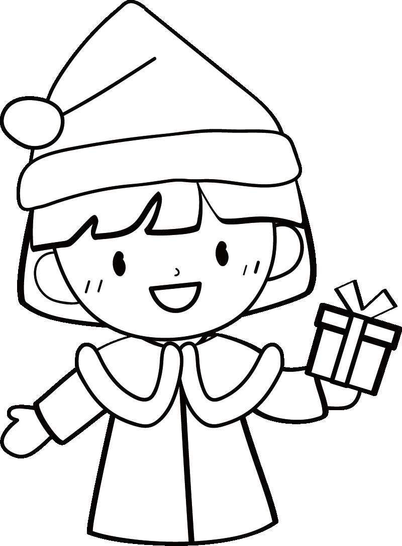サンタクロースの女の子イラスト(白黒)