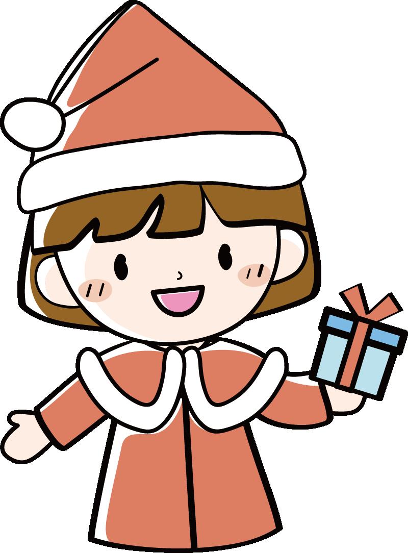 サンタクロースの女の子イラスト