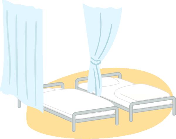 病院ベッドのイラスト