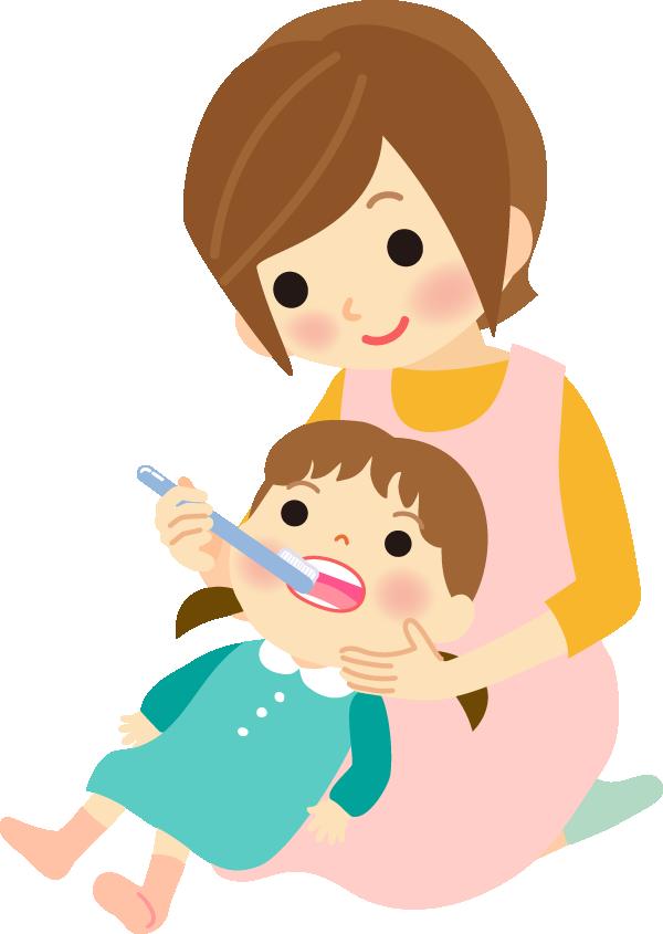 お母さんが子供に歯磨きの仕上げをしてるイラスト