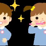 歯磨きをしてる園児のイラスト(保健)