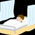 病院、保健室で寝ている子供イラスト
