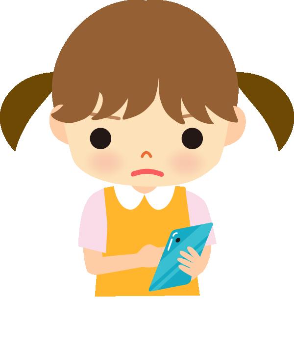 スマートフォンを操作している子供のイラスト
