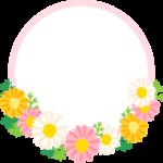 マーガレットの囲み枠・フレームイラスト(お祝い)