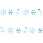 雪の結晶と雪だるまの罫線・ラインイラスト