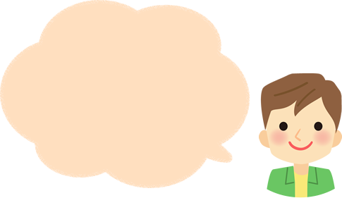 男性先生の吹き出しイラスト素材(もこもこ枠色塗り有)