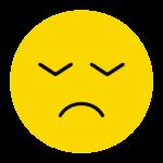 うつむいた表情のニコちゃんマーク