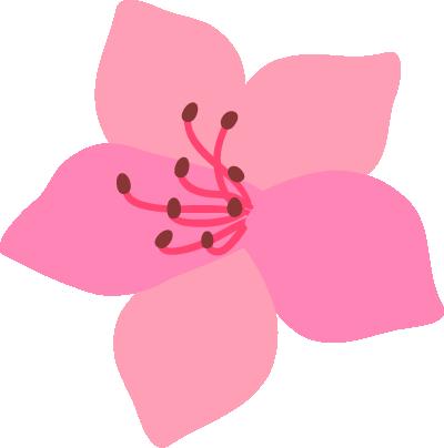ツツジの花イラスト(淡いピンク)